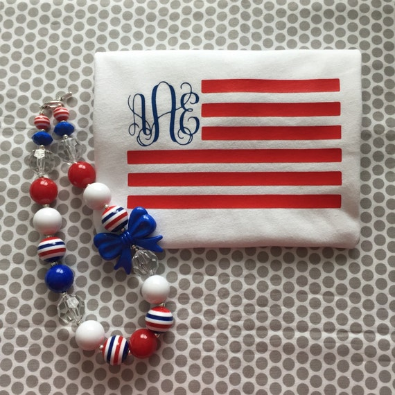 May The 4th Be With You Necklace: Items Similar To Flag Tee T Shirt Monogram Chunky Necklace