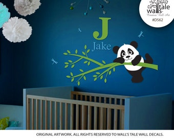 Cute Little Panda on a Tree Branch with Initial and Name wall decal, panda vinyl wall art, panda bear decal, dargonfly -d562