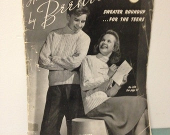 1942 Hand Knits by Beehive, Sweater Roundup for the Teens, Vintage Knitting Magazine, Book