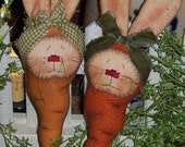 Primitive Patti's Ratties Spring Carrot Bunny Rabbit Doll Ornie Pattern #427