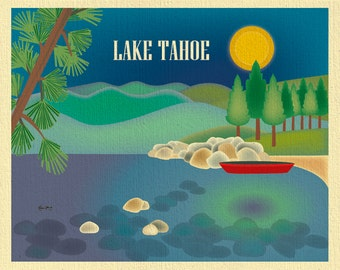 Lake Tahoe Skyline Art Print,  Lake Tahoe Wall Art Gift, Lake Tahoe Map, Lake Tahoe CA Loose Petals City Print Art - style E8-O-LAK