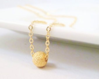 Gold Stardust Ball Necklace - small rough textured glittering ball on simple little delicate gold plated chain - Fly Me to the Moon