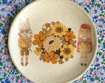 Moonrise Kingdom Bunnies with Retro Floral Vintage Illustrated Plate