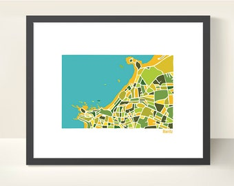 Biarritz France Original Map - illustration print