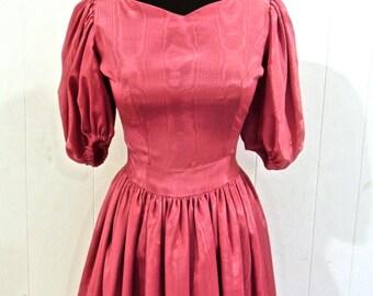 SALE vintage silk taffeta dress - 1950s-60s pink party dress
