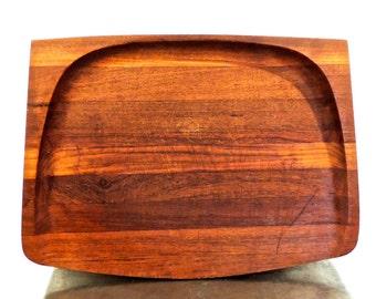 vintage teak serving tray - 1960s Dansk danish modern wood mid century tray