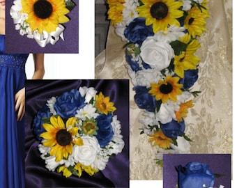 Custom Royal Blue Sunflower Wedding Bouquet Set, Sunflower Country Wedding Flowers