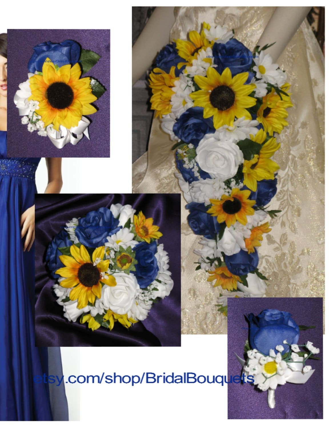 Custom royal blue sunflower wedding bouquet set sunflower country custom royal blue sunflower wedding bouquet set sunflower country wedding flowers junglespirit Image collections