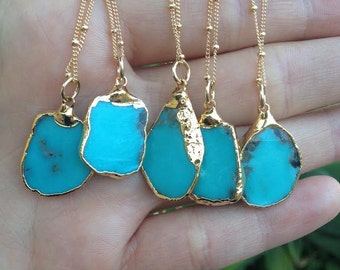 MEDIO AQUA CAMPITOS /// Turquoise Chunk Necklace /// Electroformed 24kt Gold