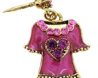 Pink Tank Top Swarovski Crystal Tack Pin 1012023