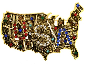 Vintage Style USA American Map Pin Brooch 1004371