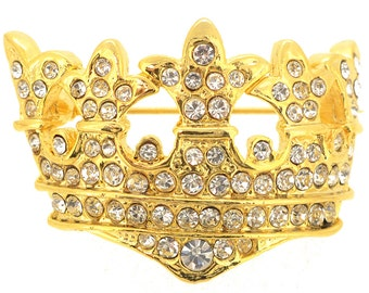 Golden Crystal Crown Pin Brooch 1004442