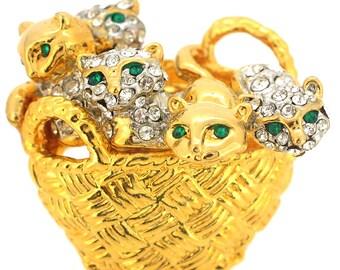 Kitties In A Basket Pin Brooch 1004541