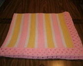 Knit Pink & Yellow Baby Blanket / Afghan / Lapghan With Crochet Trim