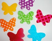 Set of 7 Iron On Applique......RAINBOW Color BUTTERFLY...Great For Onesies/ T Shirts/Pillows