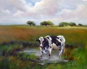 Lonesome Cow  oil painting 11x14 by Alexandra Kopp
