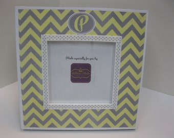 Gray and Lemon Yellow Chevron Frame with Initial or Name Frame
