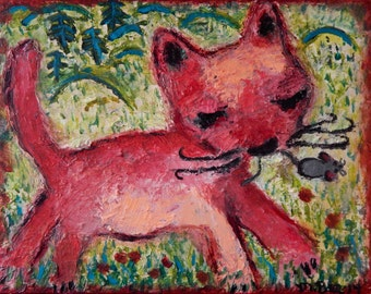 Pink Cat with mouse original pallet knife oil painting by Melissa BEE 11x14
