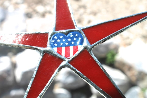 I Heart America- 7 inch stained glass star