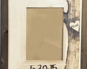 5x7 White Washed Wedding Frame - Custom engraved wedding frame, heart in tree with initials and date
