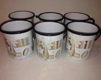 Vintage Set of 6 Enamel Cups