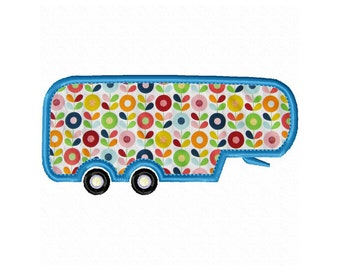 "5th Wheel Camper Applique Machine Embroidery Design Patterns in 4 sizes 4"", 5"", 6"" and 7"""
