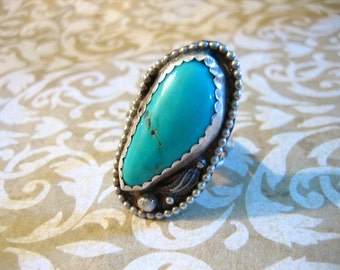 Vintage Sterling Silver Indian Turquoise Ring