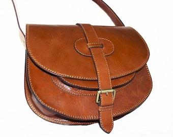 Leather Bag Messenger / Goldmann size L in tan