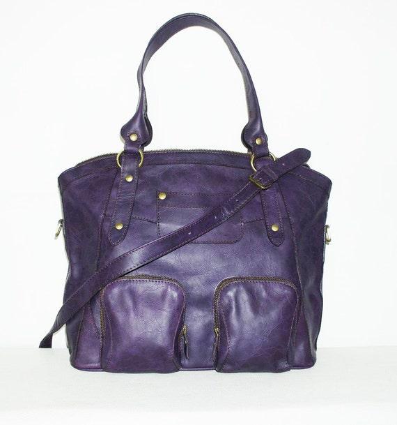 "Distressed Leather Tote Bag Handbag/ Shoulder Cross-body Bag Magui L, fits a 15"" laptop"