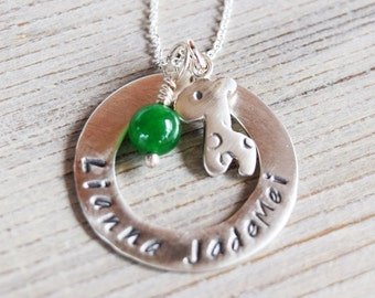 Personalized cute baby giraffe necklace in sterling silver with round hoop and birthstone gift for new mom