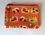 Japanese Kawaii Bento Lunch Zip Pouch - Small Zip Pouch Coin Purse Wallet - Made from Japanese import fabric