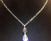 Blue Crystal Oval Necklace with Silver Filigree Cap and Chain