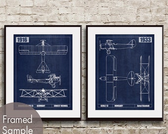 Vintage Plane Sketch (A) - Set of 2 Art Prints  (Featured in Worn Blue Jeans) Technical Drawing Art Print