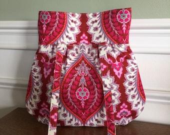 Everyday Purse - Handbag - Pink Gray Cream Rust Modern Bold Print - Designer Fabrics - Ready to Ship