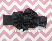 Black bow headband - Baby Head Wrap - Bow Knot Headband - Baby Turban - Nylon Baby Head Wrap - Top Knot Headband - Retro Baby Head Band