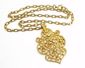 Vintage Scrolled Trifari Gold Tone Necklace - Chain & Pendant Signed