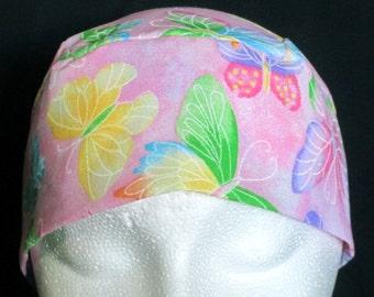 Pink w Butterflies Chemo Cap, Skull Cap, Hair Loss, Bald, Women, Children, Hat, Head Wrap, Helmet Liner, Motorcycle, Do Rag, Alopecia