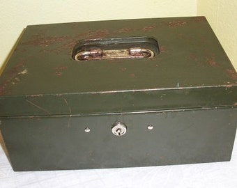 Vintage Very Cool Dark Green Art Steel ASCO New York Metal Cash Box Mid Century