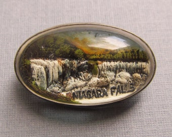 Antique Niagara Falls Reverse Painted Glass Dome Sterling Silver Pin