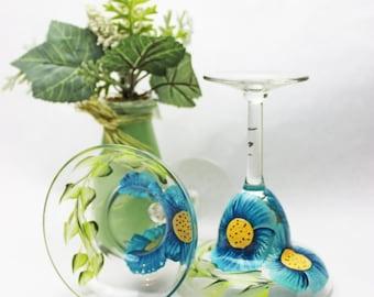 Hand Painted Margarita Glasses - Margarita Flower Fields Set of 2