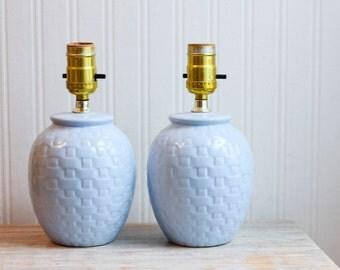 Vintage Table Lamps, Pastel Blue Lamp, Pair of Lamps, Basket Weave, Powder Blue  Nightstand Lamps, Bed Side Lamp, Dresser Lamp, Guest Room