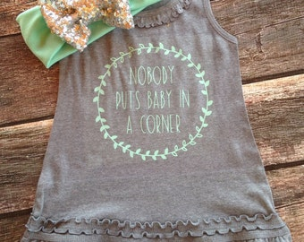 Nobody puts baby in a corner sleeveless ruffle dress kid dress funny kids clothes hipster kids dress mint and grey dress dirty dancing quote