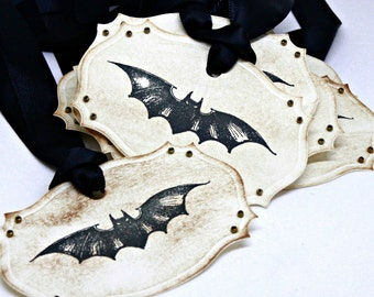 Halloween Gift Tags (Double Layered) - Vintage Flying Bat - Vintage Inspired Handmade Halloween Tags (Set of 8)