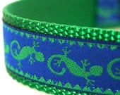 Green Gecko Dog Collar, 1 inch width, Big Dog Collar, Lizard, Summer Spring Collar