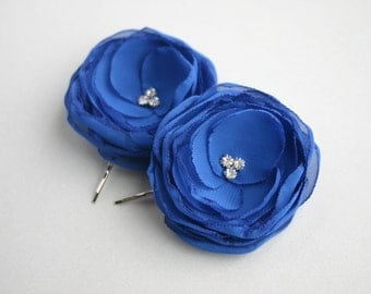 Royal Blue Flower Hair Clips, Flower Girl Hair Clip, Bridal Accessory, Blue Flower Hair Pieces, Bridesmaid Hair Accessory, Wedding Accessory