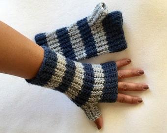 Crochet Fingerless Gloves Mittens Striped Colors in Windsor Blue and Light Gray