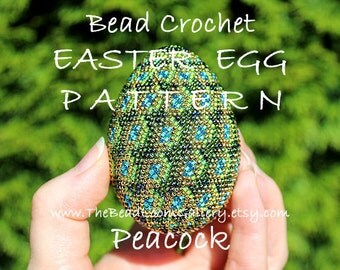 Easter Egg Pattern - Peacock Feathers - Crochet PDF File TUTORIAL - Vol.11