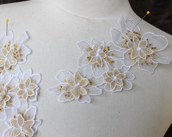 Cute embroidered  and beaded  organza flower   applique white color 2   piece listing