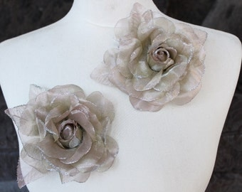 Cute organza  flower   pin 2  piece listing