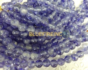 8 inch Large Hole Blue Quartz  Beads Smooth 12mm round with 2mm Drilled hole